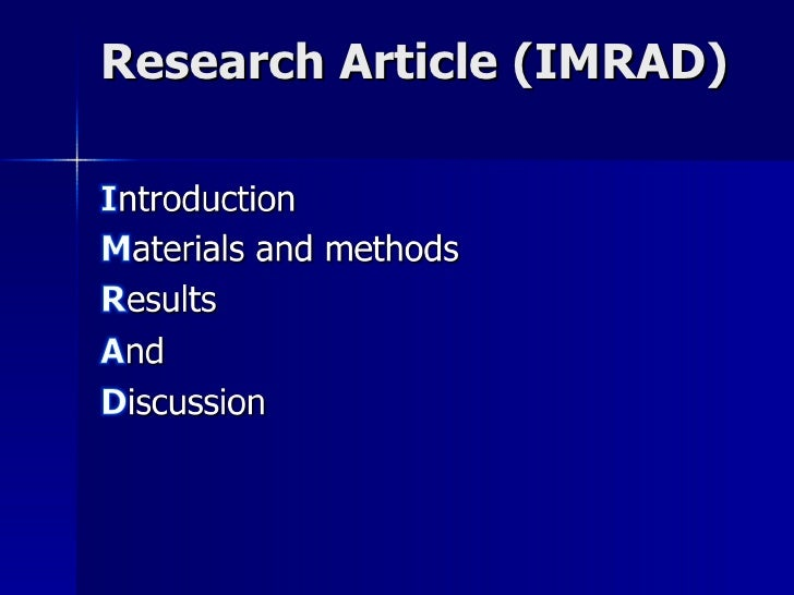 Research Article (IMRAD)