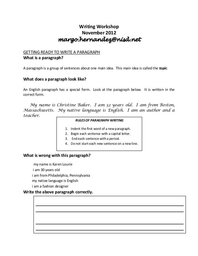 Writing Workshop                            November 2012                     margo.hernandez@nisd.netGETTING READY TO WRI...