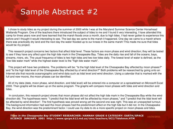 Science Fair Project Abstract