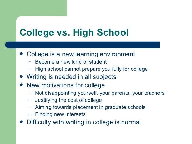 High school versus college essay