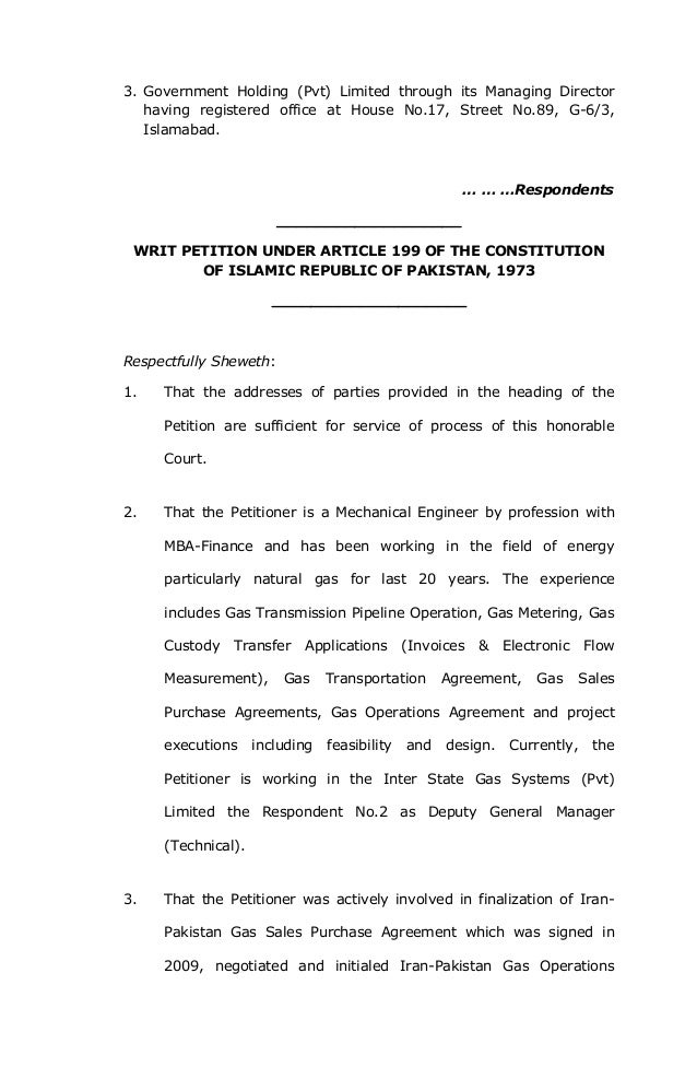 Writ Petition Islamabad High Court Tapi Operations Agreement
