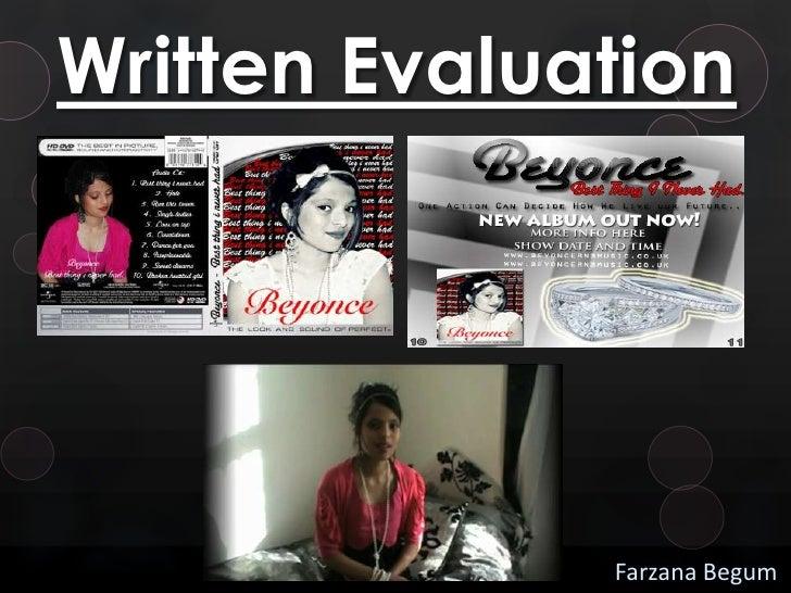 Written Evaluation              Farzana Begum