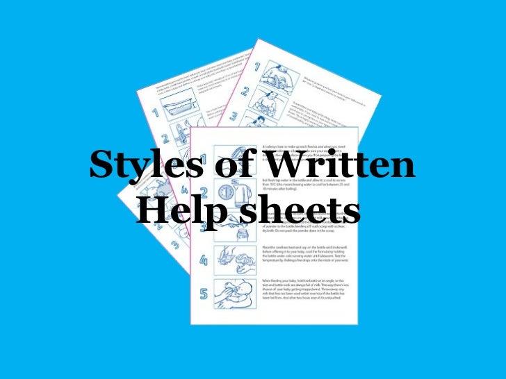 Styles of Written  Help sheets