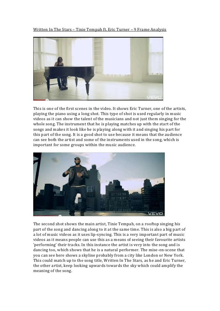 Written In The Stars – Tinie Tempah ft. Eric Turner – 9 Frame Analysis<br />This is one of the first scenes in the video. ...