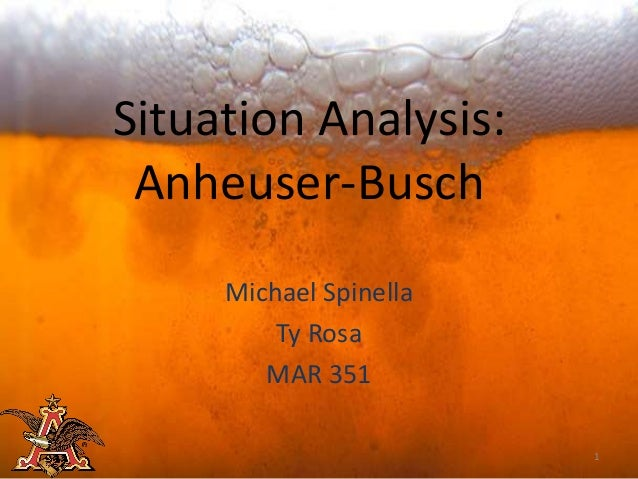 Situation Analysis: Anheuser-Busch     Michael Spinella         Ty Rosa        MAR 351                        1
