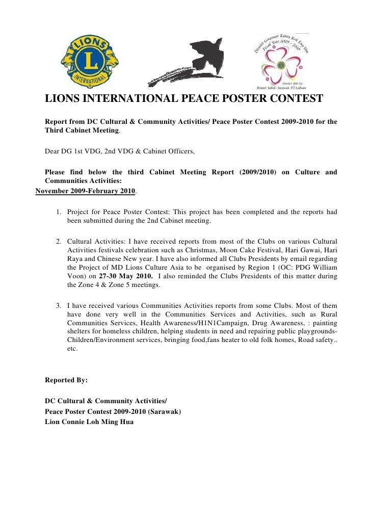 LIONS INTERNATIONAL PEACE POSTER CONTEST   Report from DC Cultural & Community Activities/ Peace Poster Contest 2009-2010 ...