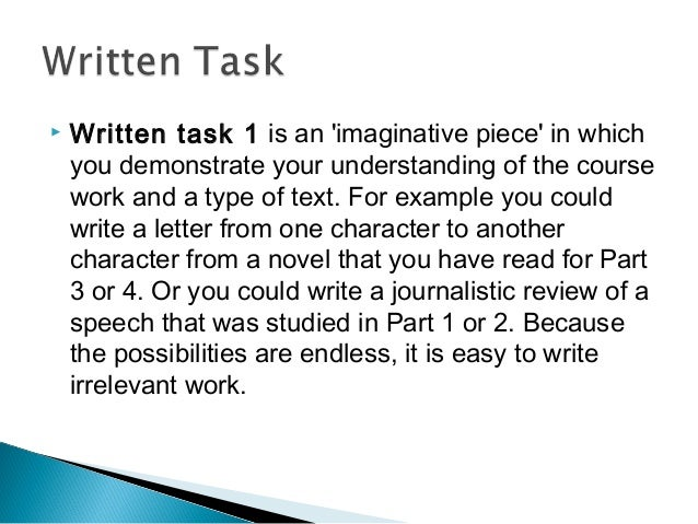 ib written task 1 english the For example, a written task discussing the representation of an aspect of gender from part 1 could be written as a newspaper editorial another example might be an imagined journal entry from a character in one of the novels studied.
