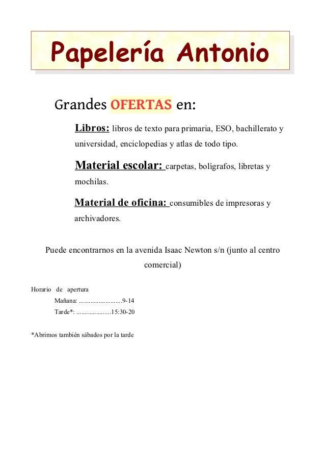 Papelería Antonio        Grandes OFERTAS en:                 Libros: libros de texto para primaria, ESO, bachillerato y   ...