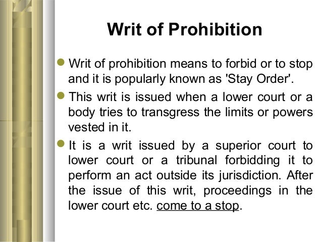 define writ of prohibition