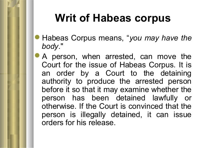Suspension Of The Writ Habeas Corpus Definition Best 2017