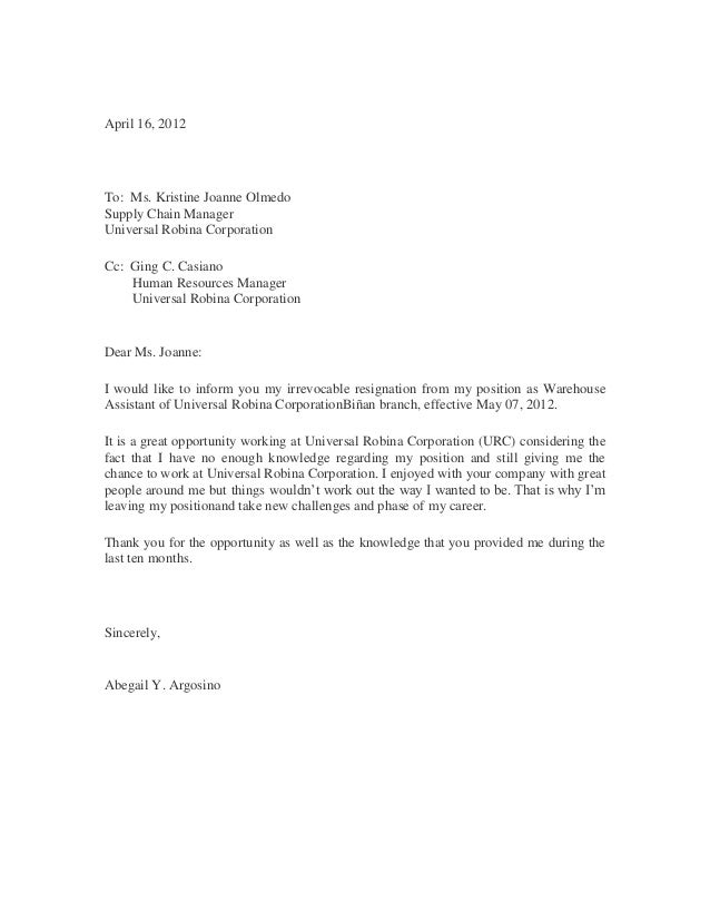 Sample of resignation letter sample of resignation letter april 16 2012 to ms kristine joanne olmedo supply chain manager universal robina spiritdancerdesigns