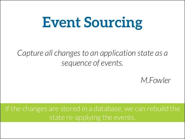 Ingredients • Rails app (no ActiveRecord) • Redis (pub-sub) • Sequel for querying data • MongoDb (event store) • Sqlite (R...