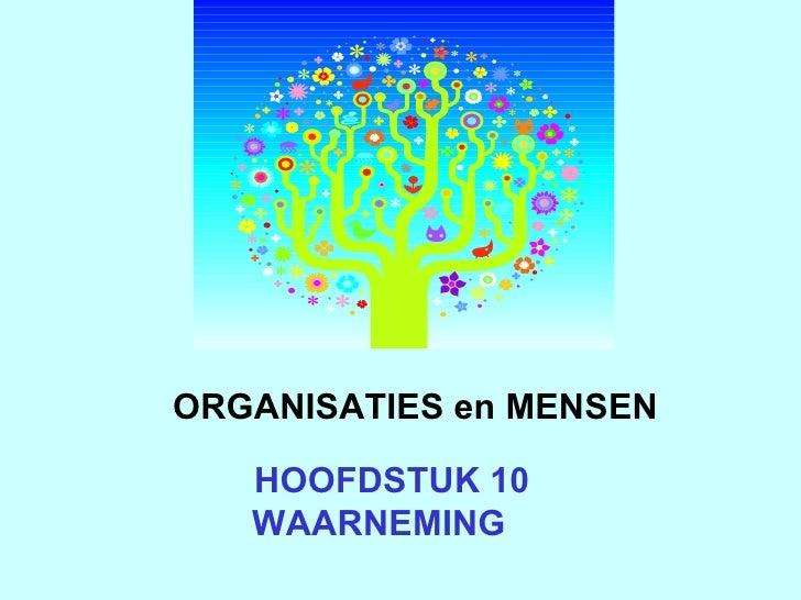 HOOFDSTUK 10  WAARNEMING ORGANISATIES en MENSEN