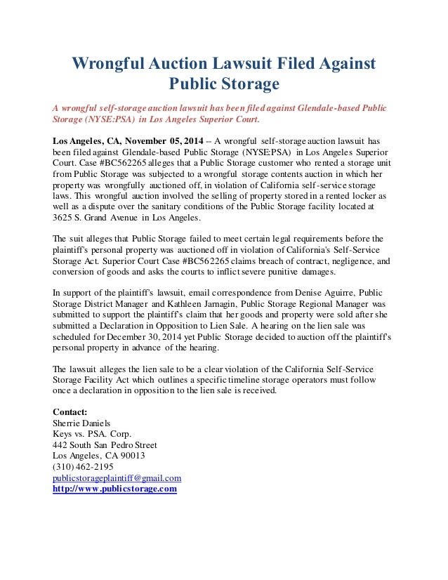 Wrongful Auction Lawsuit Filed Against  Public Storage  A wrongful self-storage auction lawsuit has been filed against Gle...