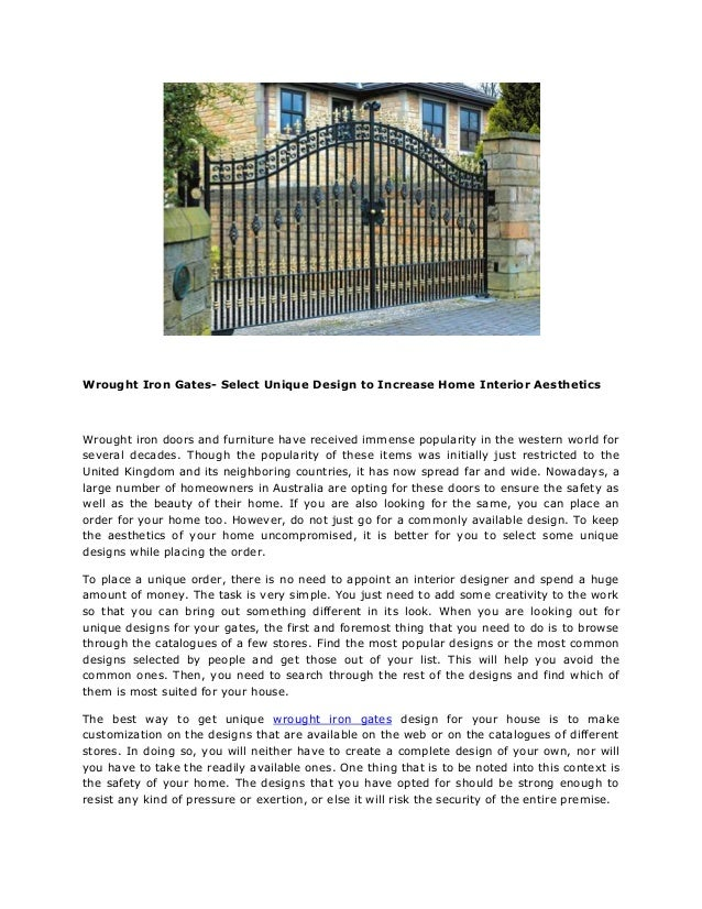 Wrought Iron Gates  Select Unique Design To Increase Home Interior  Aesthetics Wrought Iron Doors And ...