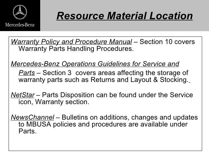 warranty parts return presentation 09 2003. Black Bedroom Furniture Sets. Home Design Ideas