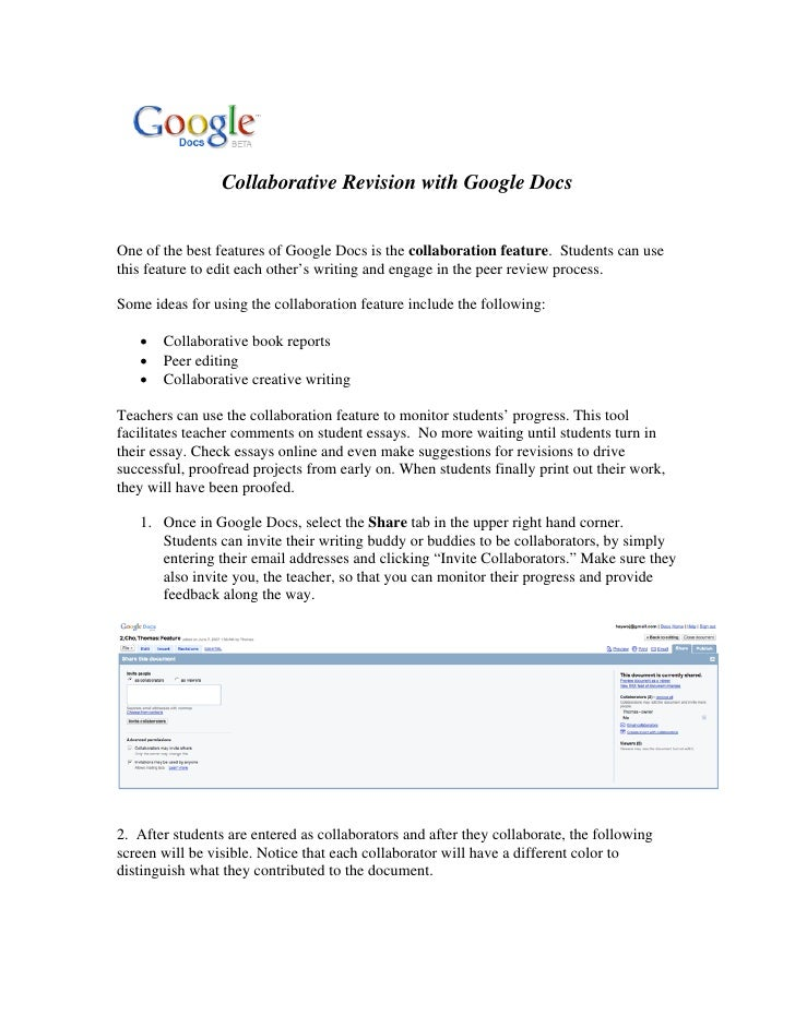 Collaborative Revision with Google Docs   One of the best features of Google Docs is the collaboration feature. Students c...