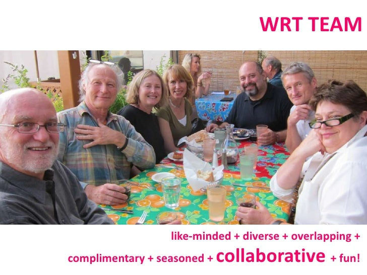 WRT TEAM<br />like-minded + diverse +overlapping + <br />complimentary + seasoned + collaborative + fun!  <br />