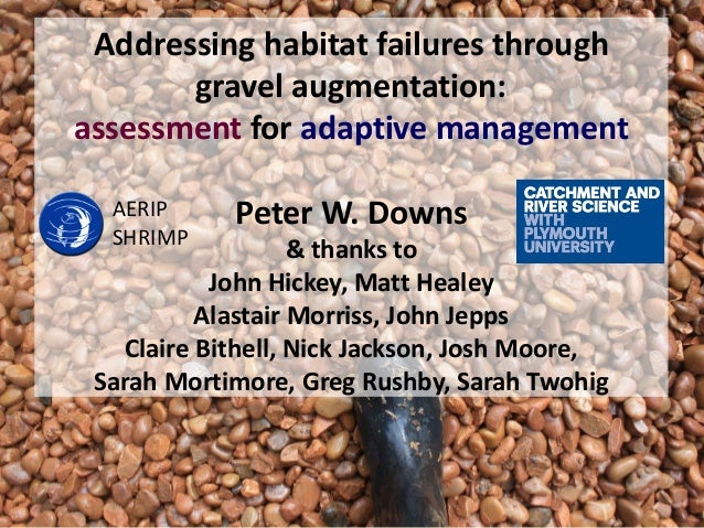 Addressing habitat failures through gravel augmentation: assessment for adaptive management Peter W. Downs & thanks to Joh...