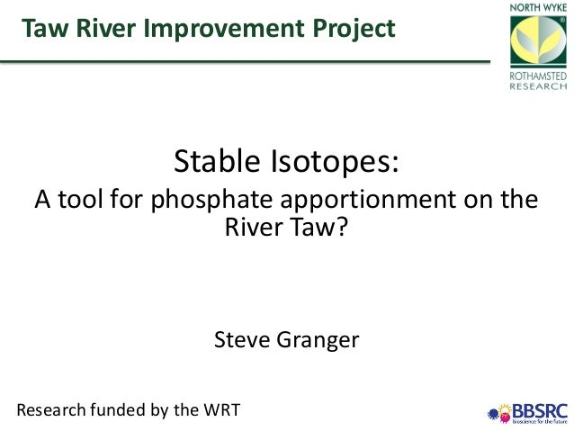 Stable Isotopes: A tool for phosphate apportionment on the River Taw? Steve Granger Taw River Improvement Project Research...