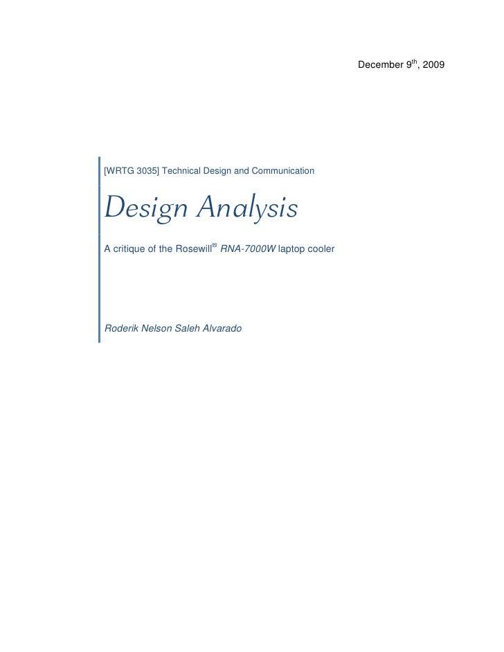 December 9th, 2009                       [WRTG 3035] Technical Design and Communication        A critiqu...