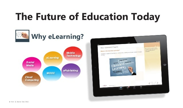 The Future of Education Today Why eLearning? eLearning  Mobile Technology  Social Media MOOC Cloud Computing  © Kim & Kerr...