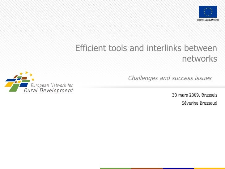 Efficient tools and interlinks between networks Challenges and success issues  30 mars 2009, Brussels Séverine Bressaud