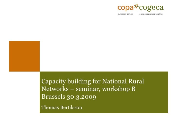 Capacity building for National Rural Networks – seminar, workshop B  Brussels 30.3.2009 Thomas Bertilsson