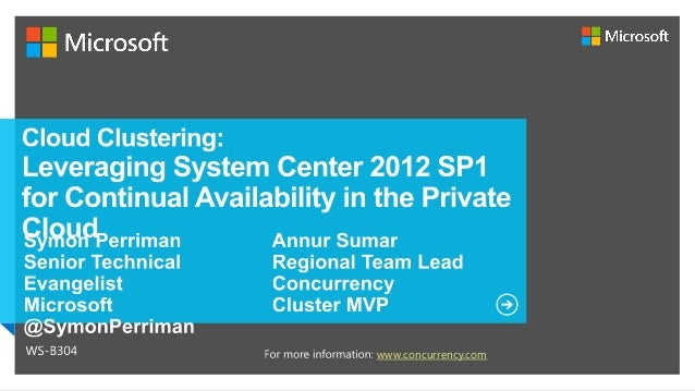 Cloud Clustering: Leveraging System Center 2012 for Continual Availability in the Private Cloud Slide 2