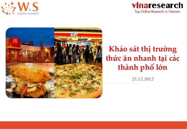 Khảo sát thị trường thức ăn nhanh tại các thành phố lớn 25.12.2012
