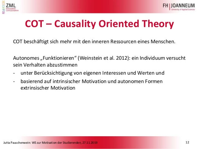 Jutta Pauschenwein: WS zur Motivation der Studierenden, 27.11.2019 COT – Causality Oriented Theory COT beschäftigt sich me...