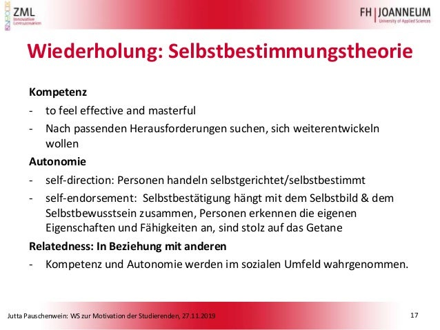 Jutta Pauschenwein: WS zur Motivation der Studierenden, 27.11.2019 Wiederholung: Selbstbestimmungstheorie Kompetenz - to f...
