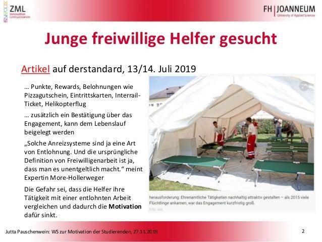 Jutta Pauschenwein: WS zur Motivation der Studierenden, 27.11.2019 Junge freiwillige Helfer gesucht Artikel auf derstandar...