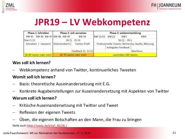 Jutta Pauschenwein: WS zur Motivation der Studierenden, 27.11.2019 JPR19 – LV Webkompetenz Was soll ich lernen?  Webkompe...