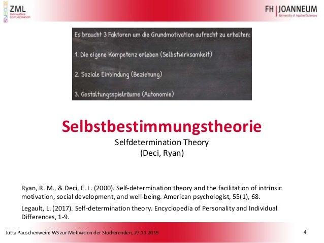 Jutta Pauschenwein: WS zur Motivation der Studierenden, 27.11.2019 Selbstbestimmungstheorie Selfdetermination Theory (Deci...