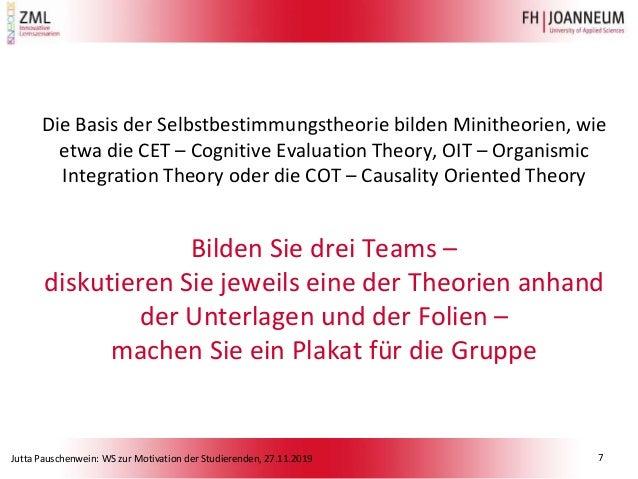 Jutta Pauschenwein: WS zur Motivation der Studierenden, 27.11.2019 Die Basis der Selbstbestimmungstheorie bilden Minitheor...