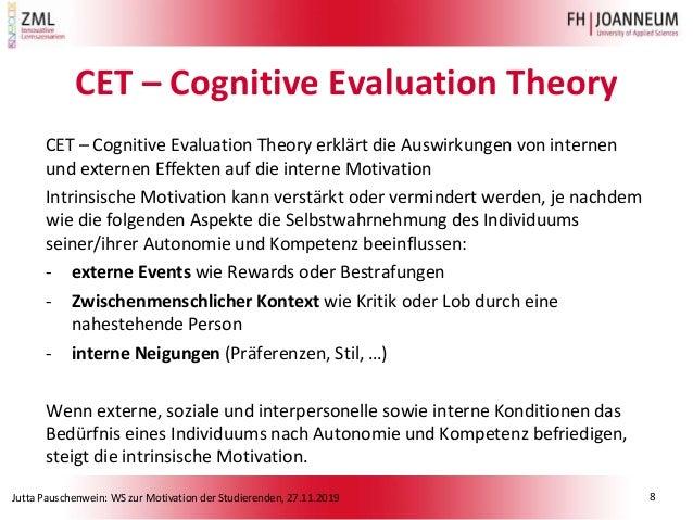Jutta Pauschenwein: WS zur Motivation der Studierenden, 27.11.2019 CET – Cognitive Evaluation Theory CET – Cognitive Evalu...
