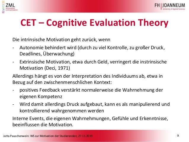 Jutta Pauschenwein: WS zur Motivation der Studierenden, 27.11.2019 CET – Cognitive Evaluation Theory Die intrinsische Moti...