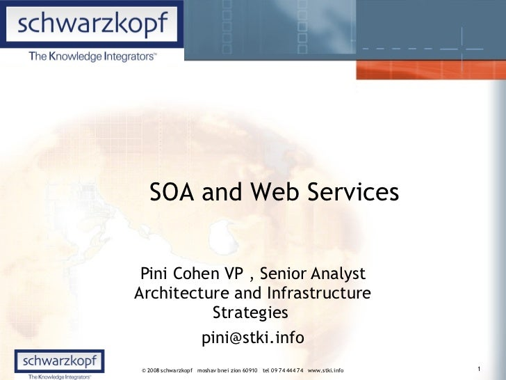Pini Cohen VP , Senior Analyst Architecture and Infrastructure Strategies  [email_address] SOA and Web Services