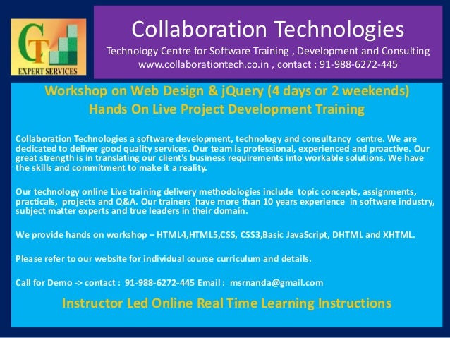 Collaboration Technologies Technology Centre for Software Training , Development and Consulting www.collaborationtech.co.i...