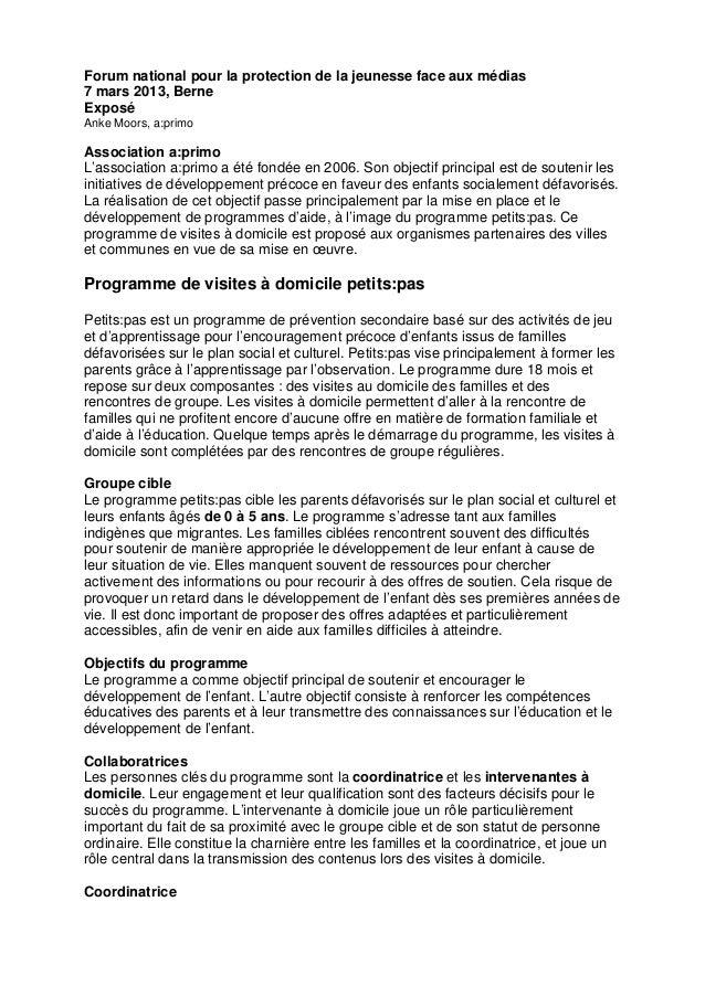 Forum national pour la protection de la jeunesse face aux médias7 mars 2013, BerneExposéAnke Moors, a:primoAssociation a:p...