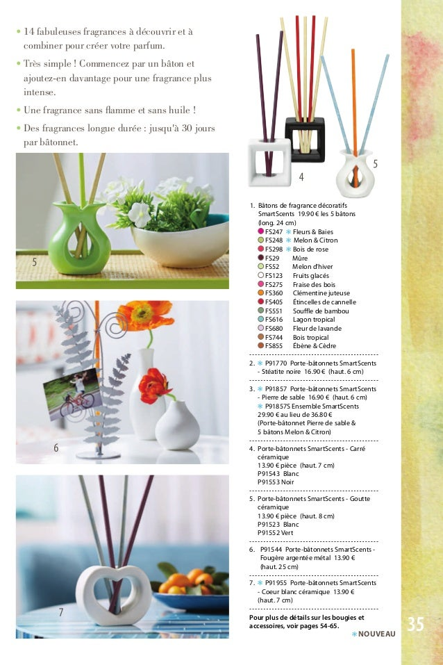 1. Bâtons de fragrance décoratifs SmartScents 19.90 € les 5 bâtons (long. 24 cm) FS247 ❃ Fleurs & Baies FS248 ❃ Melon & Ci...