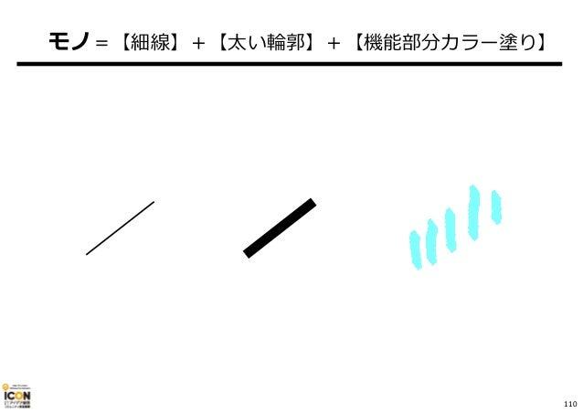 110 モノ=【細線】+【太い輪郭】+【機能部分カラー塗り】