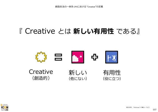 """Creative (創造的) 新しい (他にない) 有用性 (役に⽴つ) ※図の出典︓『IDEAVote』の軸カードより 『 Creative とは 新しい有用性 である』 創造技法の一体系 CPSにおける """"Creative""""の定義 137"""