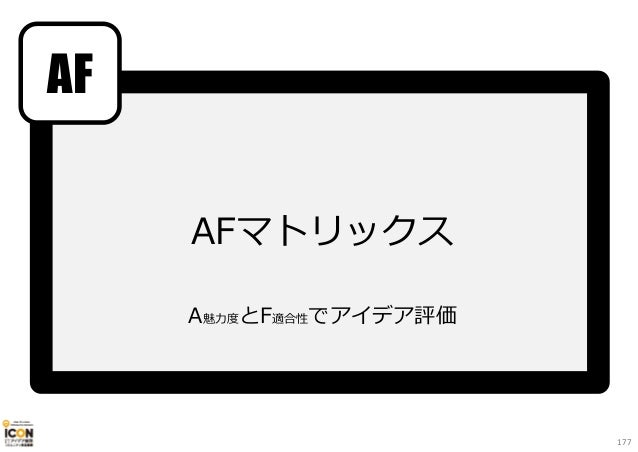 AFマトリックス A魅⼒度とF適合性でアイデア評価 AF 177