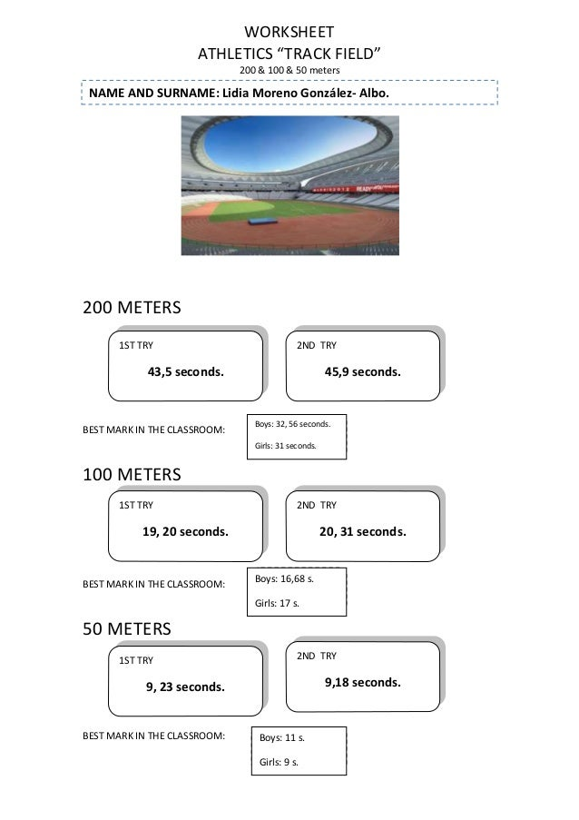 "WORKSHEET ATHLETICS ""TRACK FIELD"" 200 & 100 & 50 meters  NAME AND SURNAME: Lidia Moreno González- Albo.  200 METERS 1ST TR..."