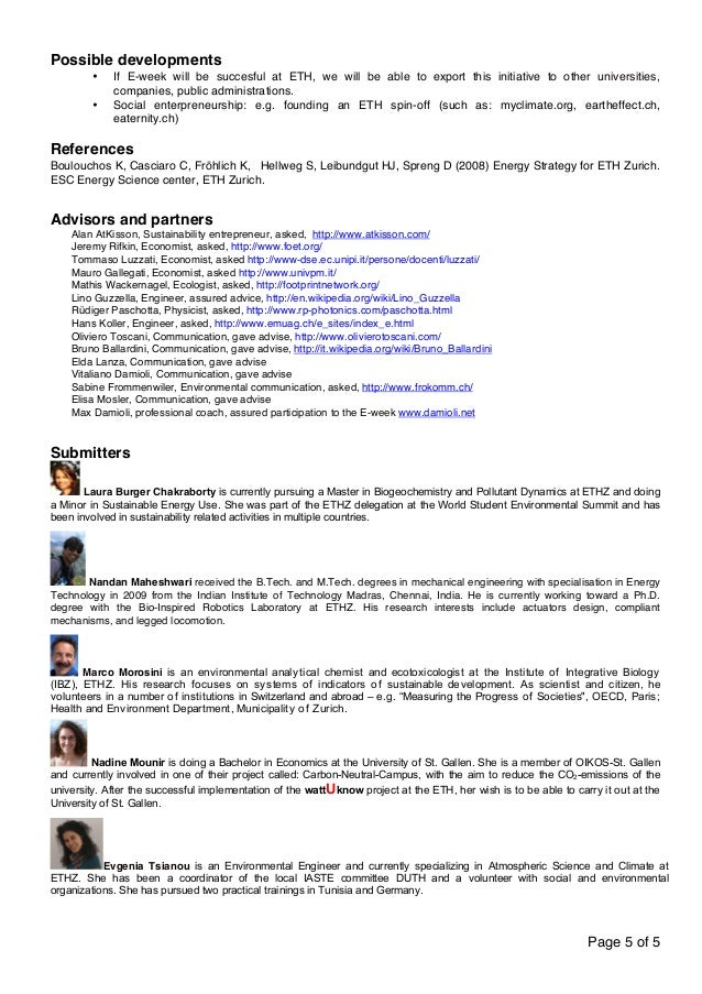 Page 5 of 5  Possible developments  • If E-week will be succesful at ETH, we will be able to export this initiative to oth...
