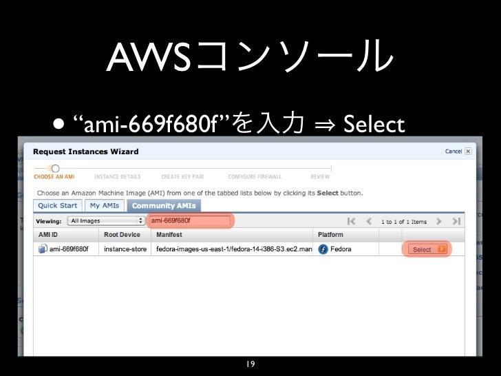 "AWS• ""ami-669f680f""        Select                   19"