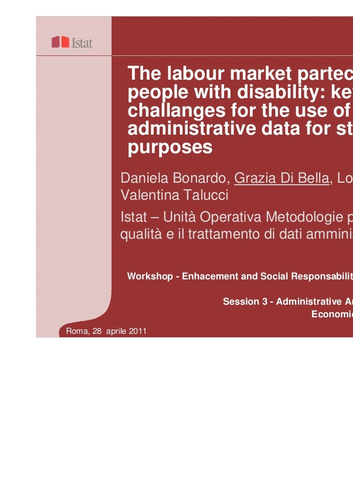 The labour market partecipation of               people with disability: key               challanges for the use of      ...