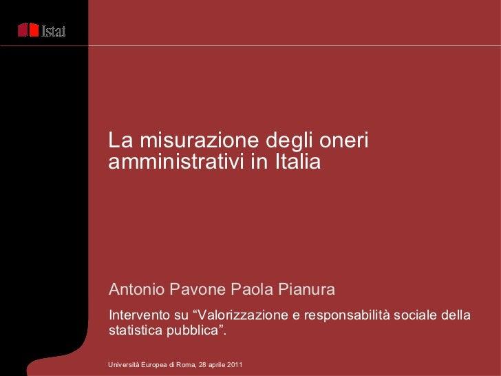 """Antonio Pavone Paola Pianura Intervento su """"Valorizzazione e responsabilità socialedella statistica pubblica"""".  La misura..."""